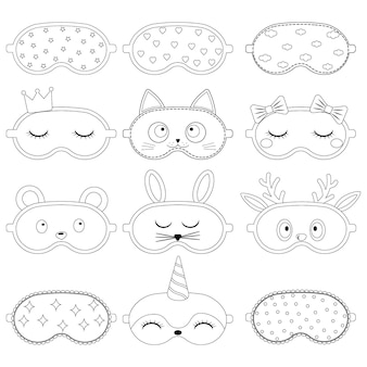 Set of sleep mask with a pattern, black contour, isolated vector illustration.