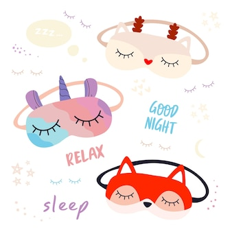 A set of sleep masks with the image of a unicorn, a christmas deer and a fox, and the phrases.