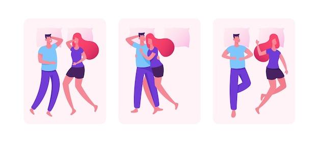 Set of sleeping couples. cartoon flat  illustration