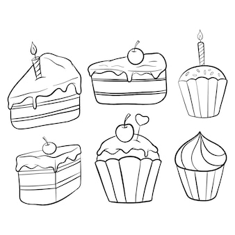 Set of slice cake and cupcake with doodle or hand drawn style on white