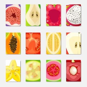 Набор шаблонов свежих фруктов ломтик, вертикальный макет обложки журнала на белом фоне, брошюра здорового образа жизни или концепция диеты, логотип для фруктов плакат, квартира