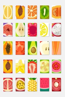 Set slice fresh fruit template card, magazine cover vertical layout on white background, broshure healthy lifestyle or diet concept, logo for fruits poster vector illustration, flat