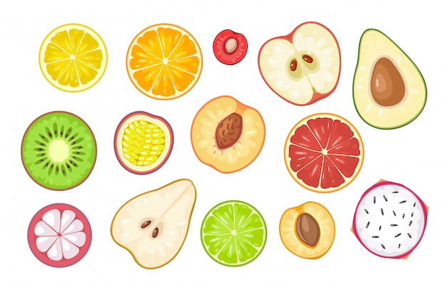 Set slice fruits.