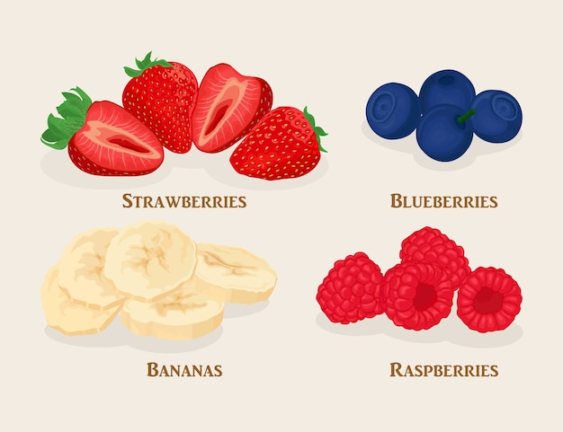 Set of sliced fruit and berries. bananas, strawberry, raspberry, blueberry  on light background.