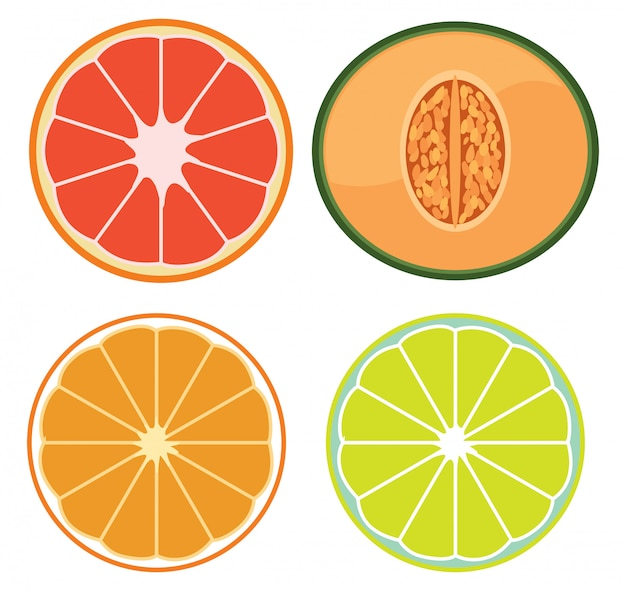 A set of sliced fruits