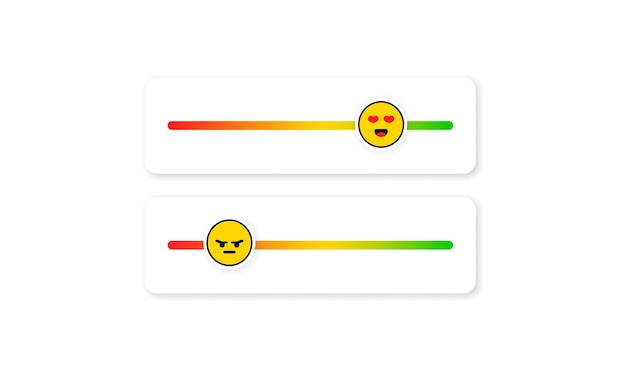Set of slider emoji for social media. feedback emoticon. reviews or rating scale with emoji representing different emotions. level of satisfaction rating. customer overview.