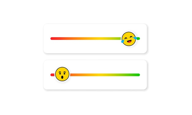 Set of slider emoji for social media. slider rating flat. happy, sad, angry faces, emoji ranking system. customer feedback, satisfaction.