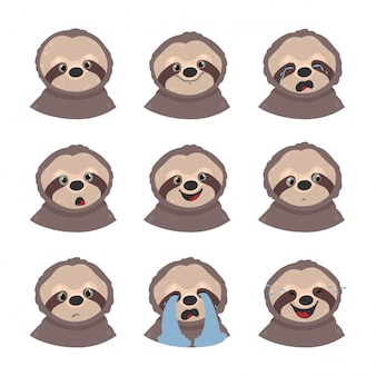 Set of sloths emotions. emoji isolated on white background.