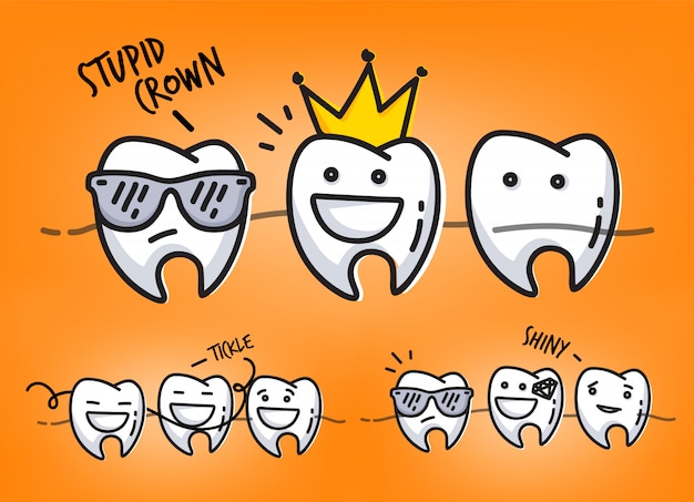 Set of small funny teeth characters scenes, drawing on orange background.