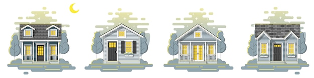 Set of small houses night scene banner