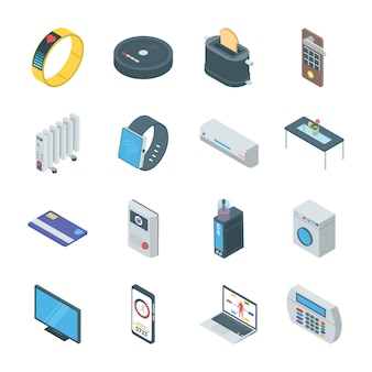 Set of smart gadgets icons