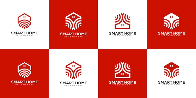 Set of smart home tech logo