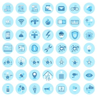 Set of smart house technology icons modern home control system