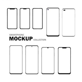 Set of smart phone with blank screen, editable set