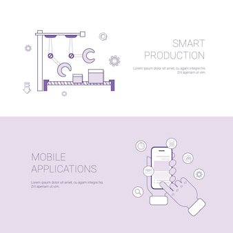 Set of smart production and mobile application banners business concept template background with copy space