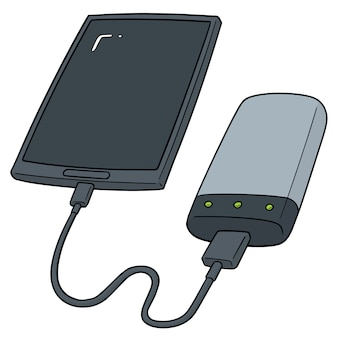 Set of smartphone charging via power bank