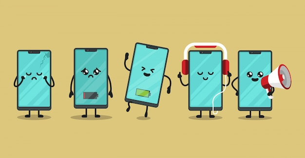 Set of smartphone mascot design illustration