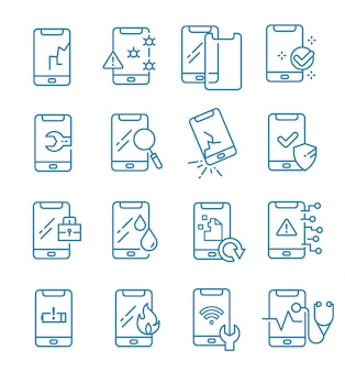 Set of smartphone repair icons with outline style