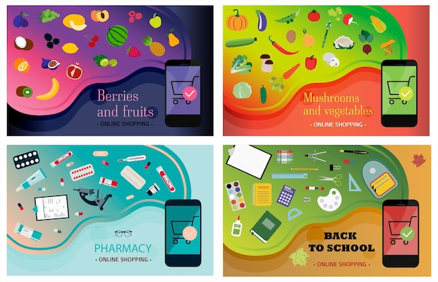 Set of smartphone screens with ordering vegetables fruits pharmacy and office supplies