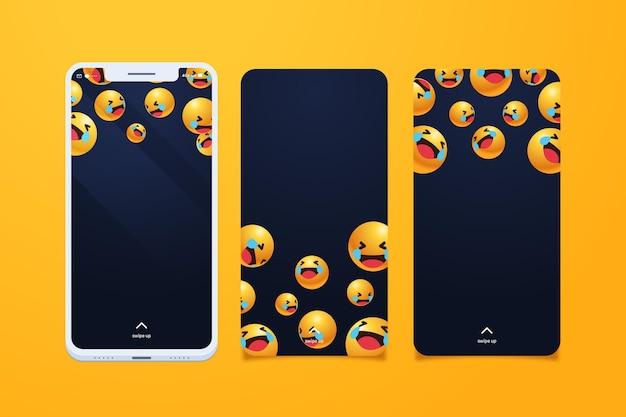 Set of smartphone screens