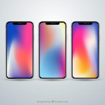 Set of smartphone with gradient wallpaper