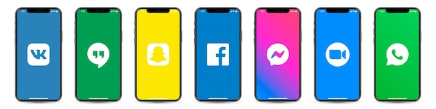 Set of smartphone with social network logos