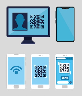 Set smartphones and computer with code qr illustration design