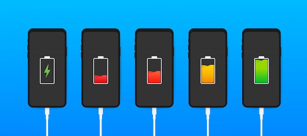 Set of smartphones with battery charge level indicators and with usb connection. discharged and fully charged battery smartphone.  illustration.