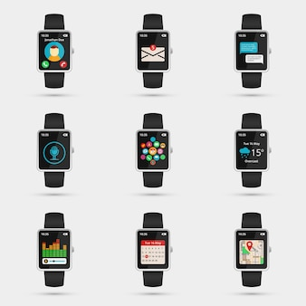 Set of smartwatch icons. wifi, map and weather, calendar and music, navigation and message