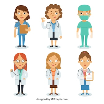 Set of smiley female doctors and surgeon