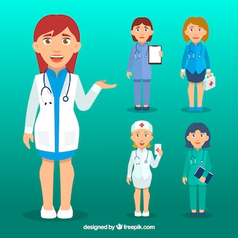 Set of smiley female doctors with flat design