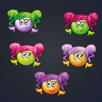 Set of smilies girls with different emotions for computer games.