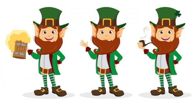 Set of smiling cartoon character leprechaun