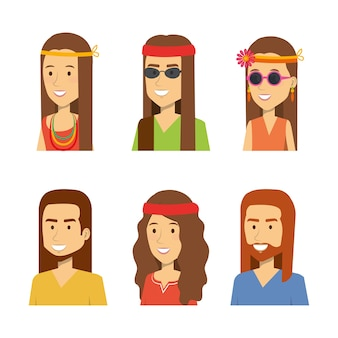 Set of smiling hippie people