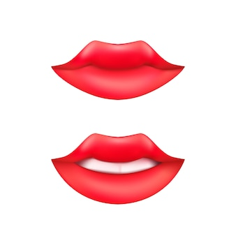 Set of smiling woman mouth or cartoon lips with teeth and red lipstick isolated on a white background