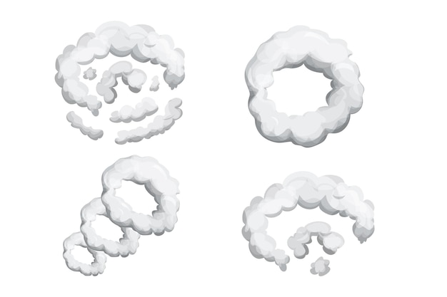 Set smoke dust explosion in cartoon style abstract gray cloud gas motion element