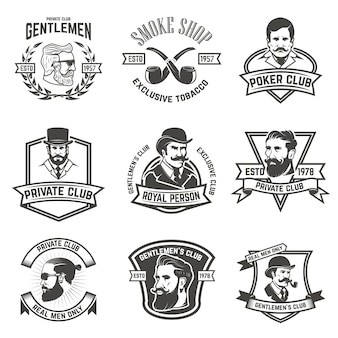 Set of  smokers club, gentlemen club labels.  elements for logo, emblem, sign, brand mark.  illustration.