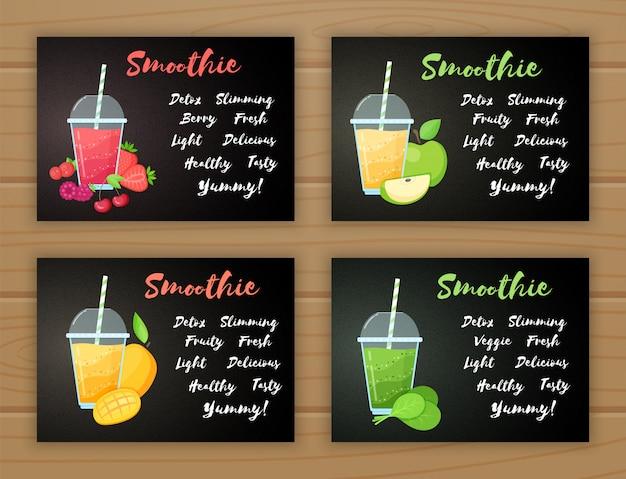 Set of smoothie vitamin drink flat illustration