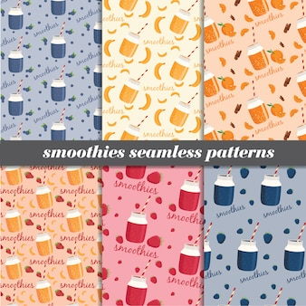 Set of smoothies seamless patterns.