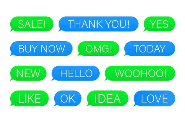 Set of sms bubbles messages with dialog words.