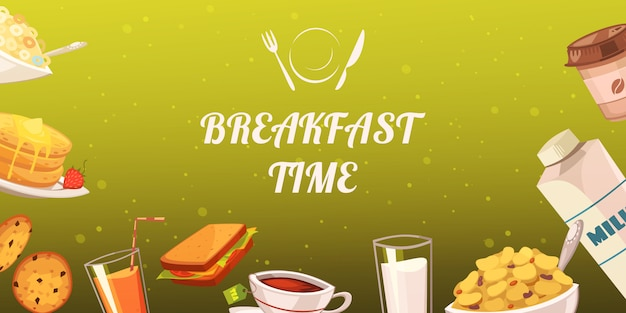 Set of snacks for breakfast on mustard background
