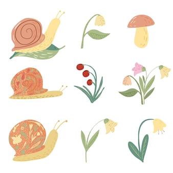 흰색 바탕에 달팽이와 꽃을 설정합니다. 재미있는 만화 캐릭터 : 달팽이, 은방울꽃, 도라지, 버섯, 잎, 낙서 스타일의 베리