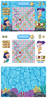 Set of snakes and ladders game with mermaid in ocean