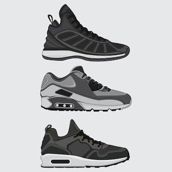 Set sneakers design vector