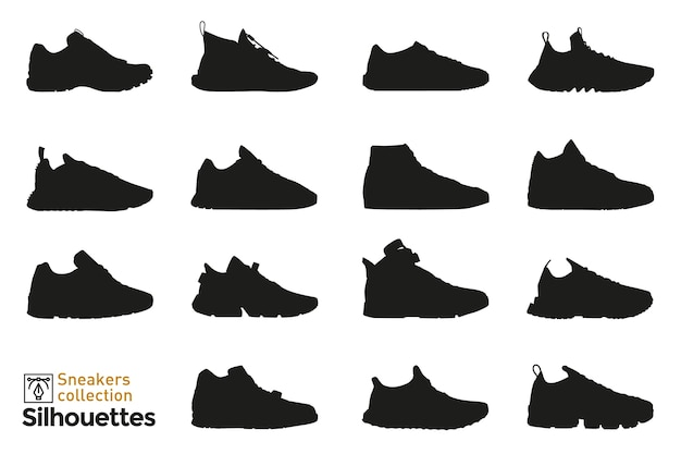 Set of  sneakers silhouettes for man and woman. fashion elements. dress shoes icons for . Premium Vector