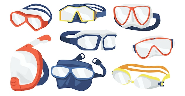 Set of snorkeling masks icons, scuba diving equipment of different design. underwater glasses, mouthpiece tube for swimming in sea or pool isolated on white background. cartoon vector illustration