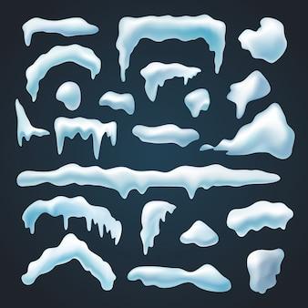 Set of snow caps