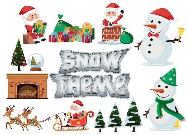 Set of snow and christmas theme