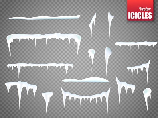Set of snow icicles isolated