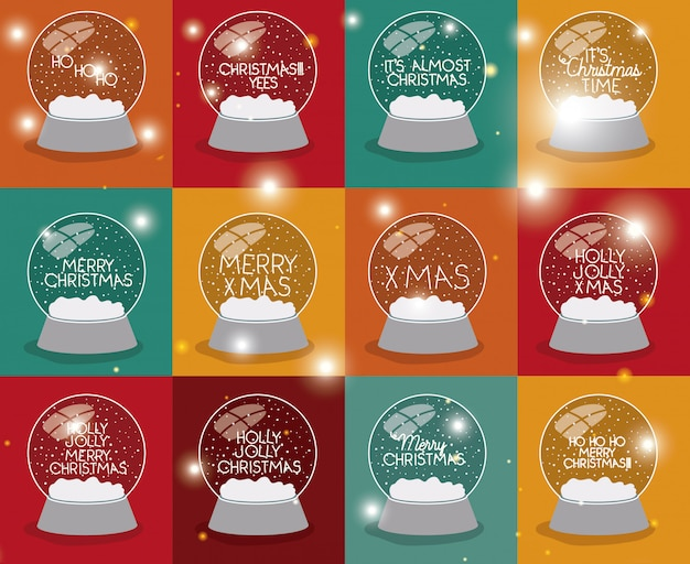 Set of snow spheres with christmas letterings